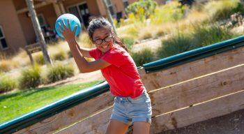 Girl throwing a gaga ball