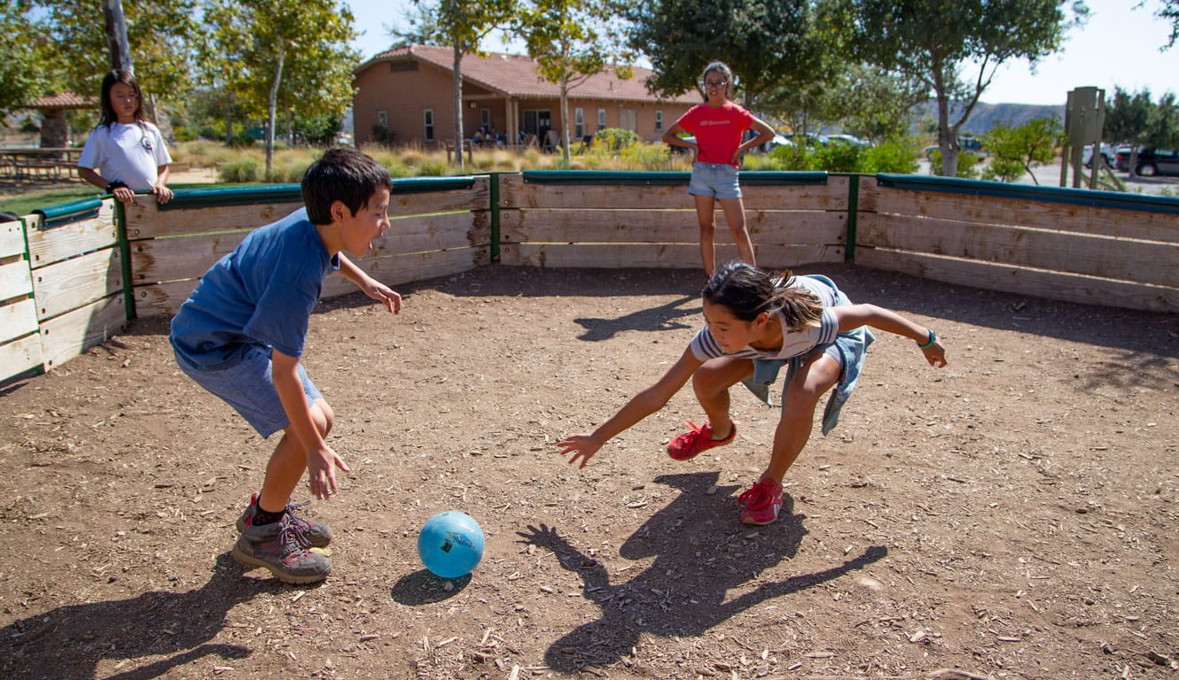 Kids playing gaga outdoors at Irvine Ranch