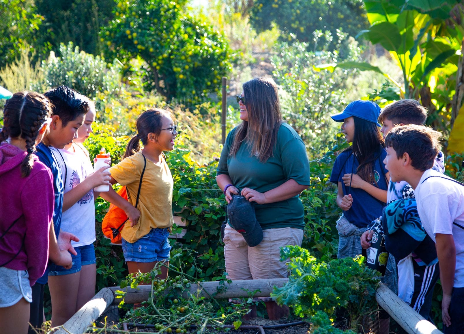 School group learning about the garden from Irvine Ranch staff