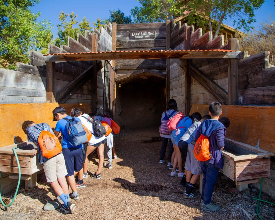Campers at the Replica Coal Mine sifting pans