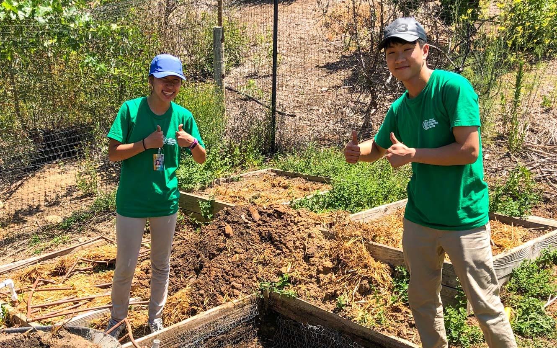 High School EcoCorps volunteers gardening