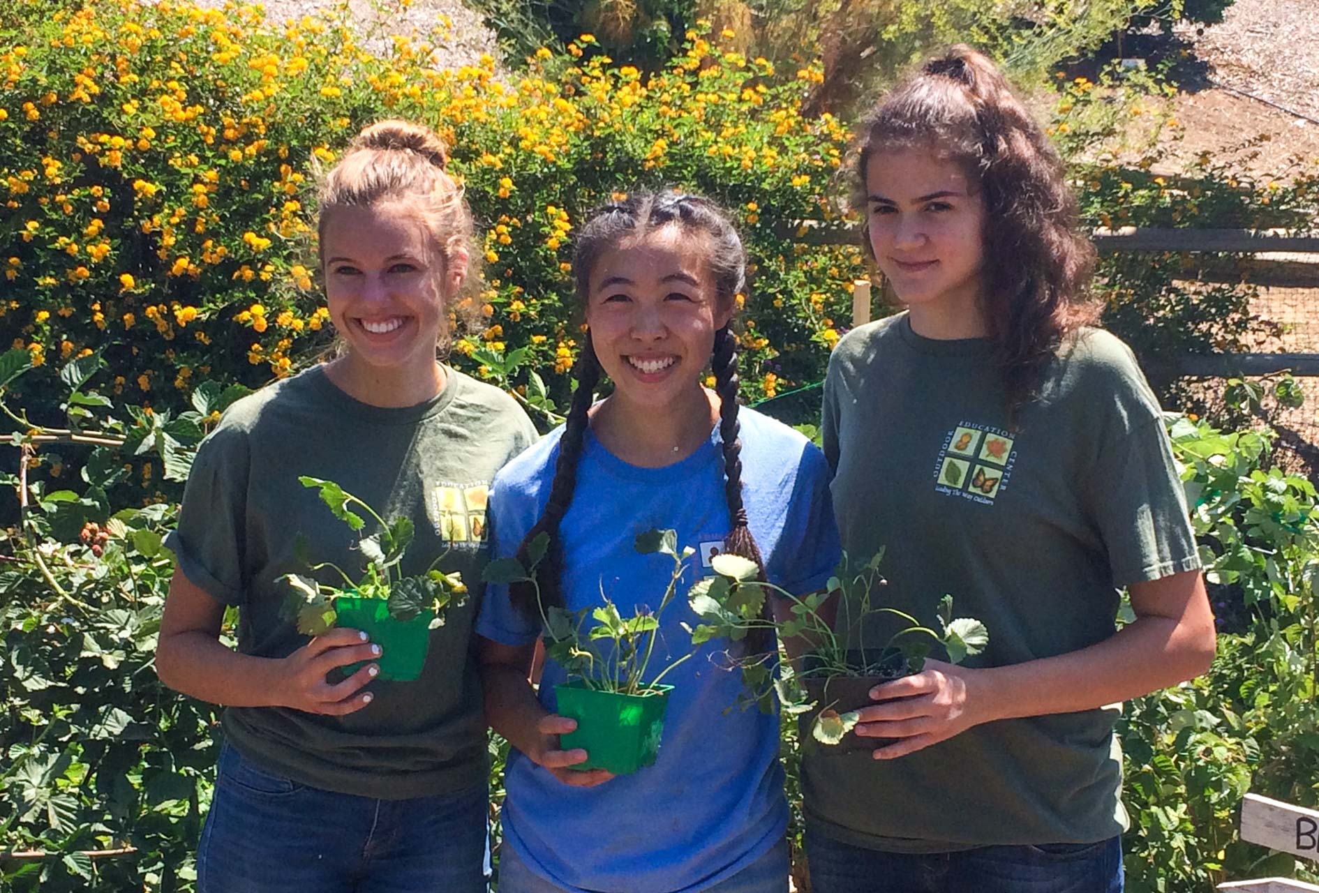 Three girls volunteering and holding flower pots