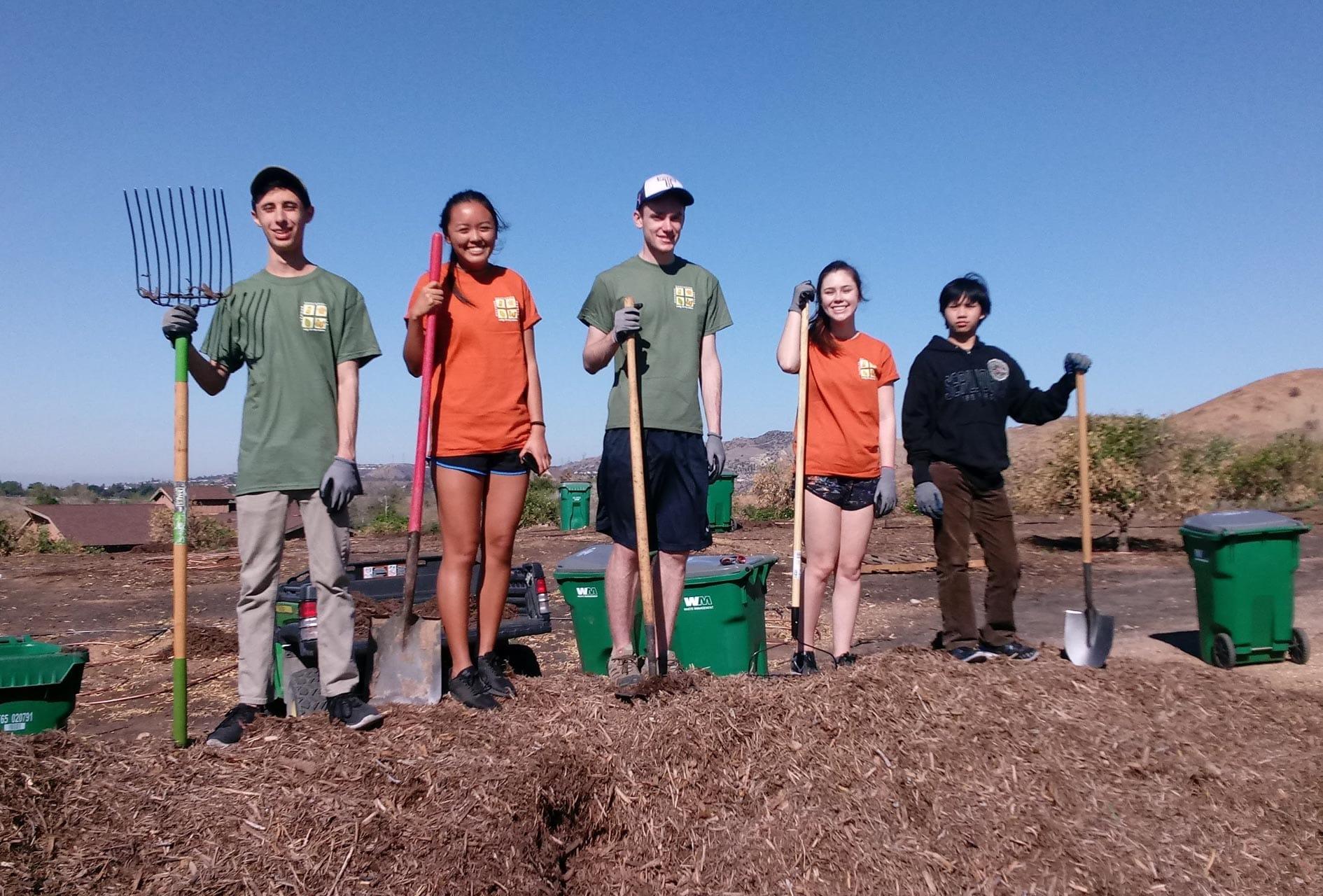 Teens at service day gardening