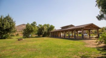 Outdoor pavilion and field at Irvine Ranch
