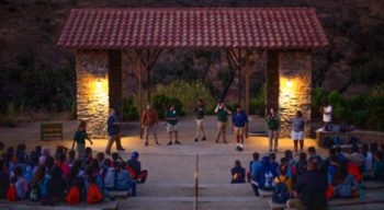Staff leading an event in the amphitheater at Irvine Ranch